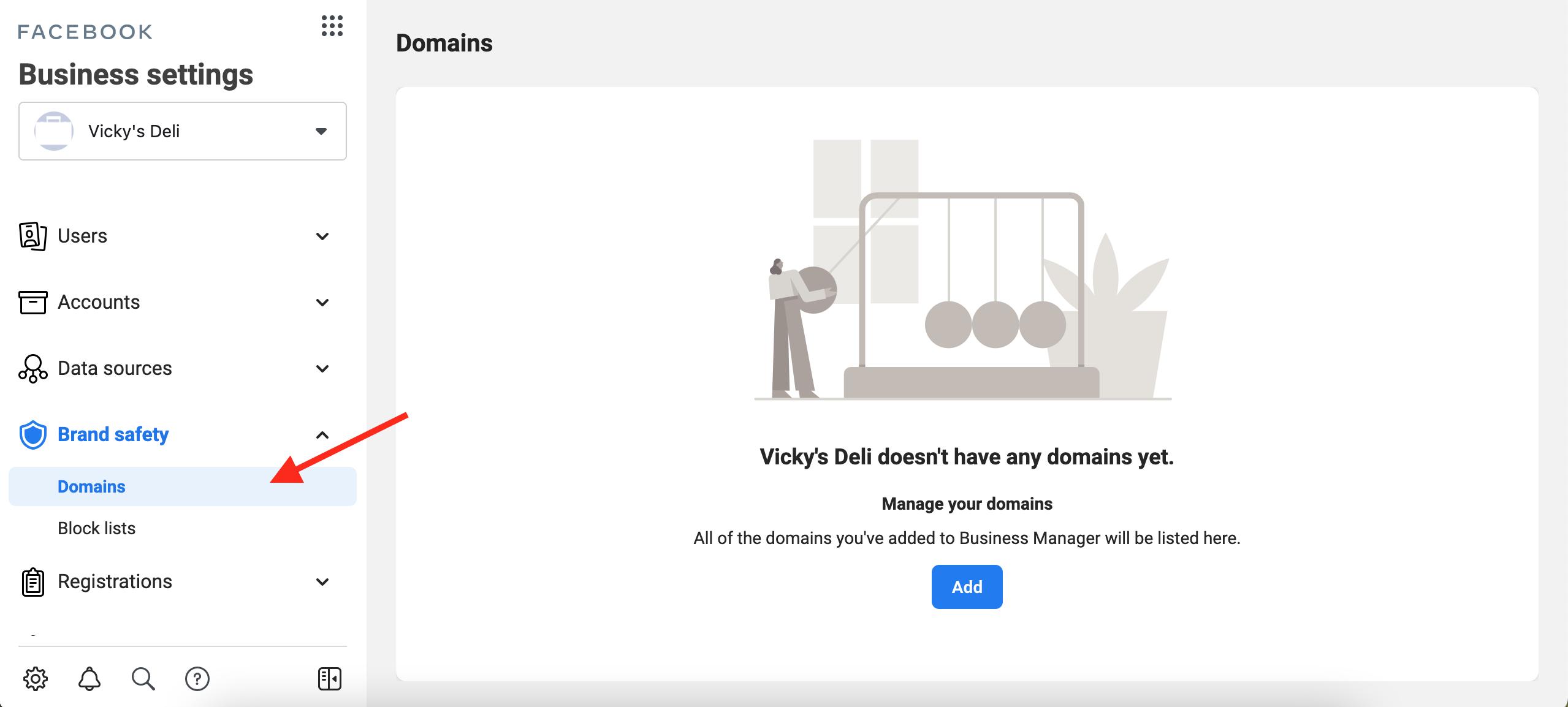 Facebook verify domains